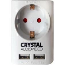 Μονόπριζο Crystal Audio SUW-1 με 2 Θύρες USB 2.4Α Λευκό