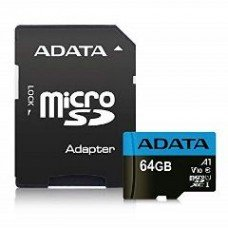 ADATA SDHC MICRO 64GB PREMIER AUSDX64GUICL10A1-RA1, CLASS 10, UHS-1, SD ADAPTER, 5YW.