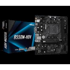 ASROCK MB B550M-HDV, SOCKET AMD AM4, CS AMD B550, 2 DIMM SOCKETS DDR4, D-SUB/DVI-D/HDMI, LAN GIGABIT, MICRO-ATX, 2YW.