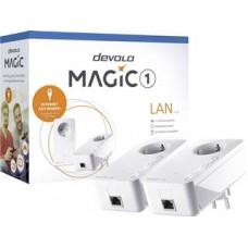 DEVOLO POWERLINE MAGIC 1 LAN 1-1-2 EU STARTER KIT (8302), 2x MAGIC 1 LAN ADAPTER, 1200Mbps, SHUKO, AC POWER OUT SOCKET, 3YW.
