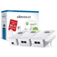 DEVOLO POWERLINE MAGIC 2 WIFI NEXT EU MULTIROOM KIT (8632), 1x MAGIC 2 LAN ADAPTER & 2x MAGIC 2 WiFi (WIRELESS) ADAPTER, 2400Mbps, SHUKO, AC POWER OUT SOCKET, 3YW.